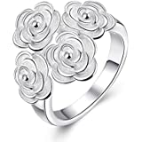 925 Silver Plated Crystal Rhinestone Women Wedding Rose Flower Band Ring Walking Street (8)