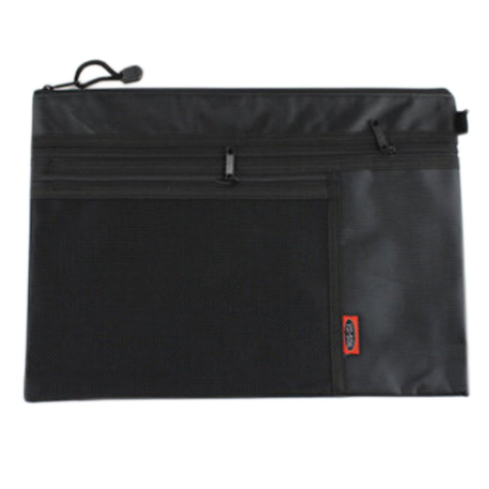 3PCS Waterproof Document File Stationery File Pocket Zipper Bag, Black
