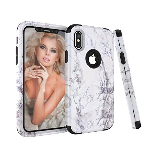 Click to buy iPhone X Case, Fisel Marble Series Ultra 3 in 1 PC & Silicon High Impact Hybrid Drop Proof Armor Defensive Shockproof Anti Slip Full Body Protective Case for iPhone X 5.8 Inch 2017 Model - From only $4.49