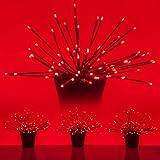 LED Starburst 5mm Starlight Christmas Lights - Light Balls - Lighted Branches (15'', Red Branches/Red Twinkle Lights, Set of 3)
