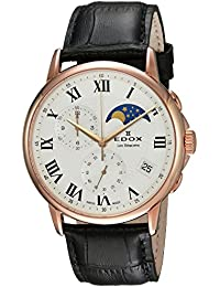 Men's 'Les Bemonts' Swiss Quartz Stainless Steel and Leather Dress Watch, Color Brown (Model: 01651 37R AR)