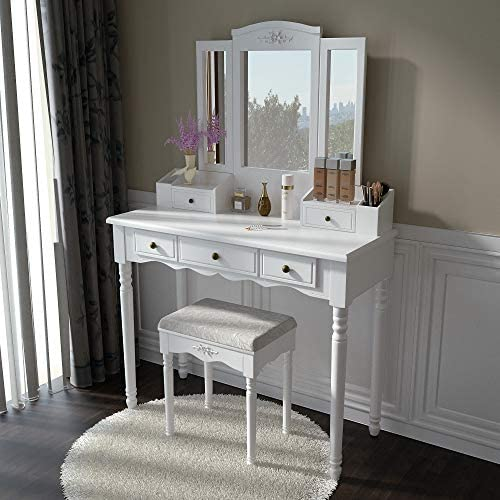 Vanity Stool Set, Make Up Table with 5 Drawers, Tri-Folding 3 Mirrors, Cushioned Stool Easy Assemble White