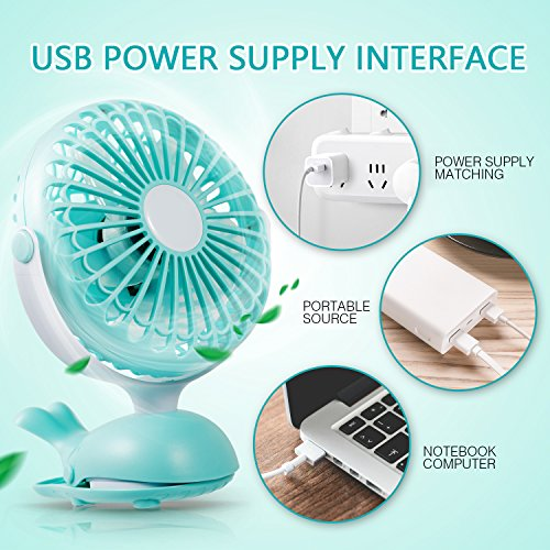Battery Operated Clip Fan Stroller Fan for Baby Portable Silent USB Fan Mini Personal Desk Fan Cute Design Rechargeable Battery Fans Adjustable Tilt Quiet Operation for Treadmill Dorm Bed Tent Camp by Aikmi (Image #6)