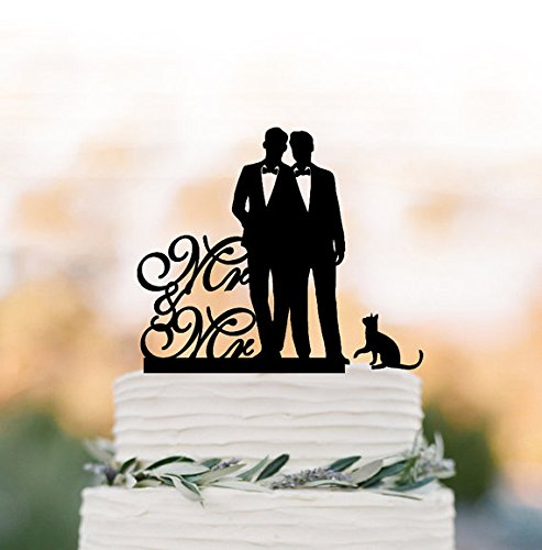 Mr and Mr Wedding Cake topper, Gay cake topper with cat, silhouette wedding cake decoration, same sex funny wedding cake toppers by CHRISTx