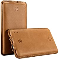 8000mAh Cell Phone Power Bank Portable USB Charger, Icarercase Universal Compact Genuine Leather Surface Leather External Battery for iPhone, iPad, Android and Other Smart Devices(Brown)