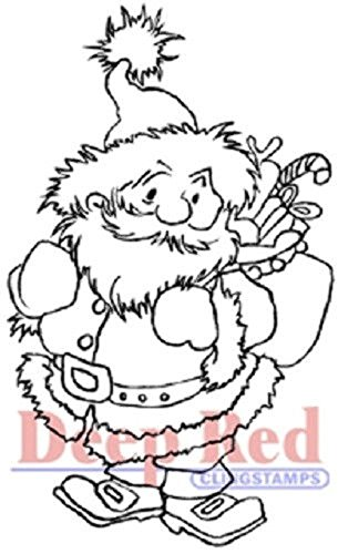 Deep Red Rubber Cling Stamp Santa Claus with Toy Sack