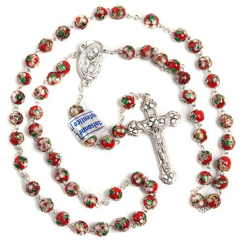 Red Cloisonne Bead Catholic Rosary Bead. Metal Crucifix. Our Lady Centre. Red Crucifix