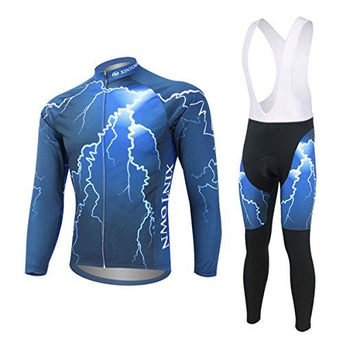 Panegy Damen Herren Herbst Winter Fahrradbekleidung Set - Full Zip Langärmeliger Radtrikot Lange Radhose mit Sitzpolster - Blau Flash Pattern Größe M