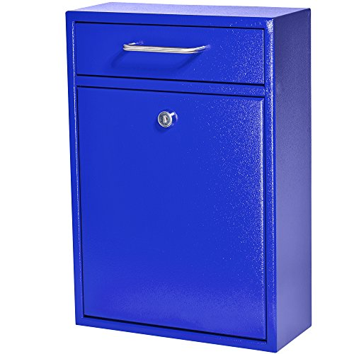 Mail Boss 7424 High Steel Office Comment Letter Deposit, Blue Locking Security Drop Box Wall Mounted ()
