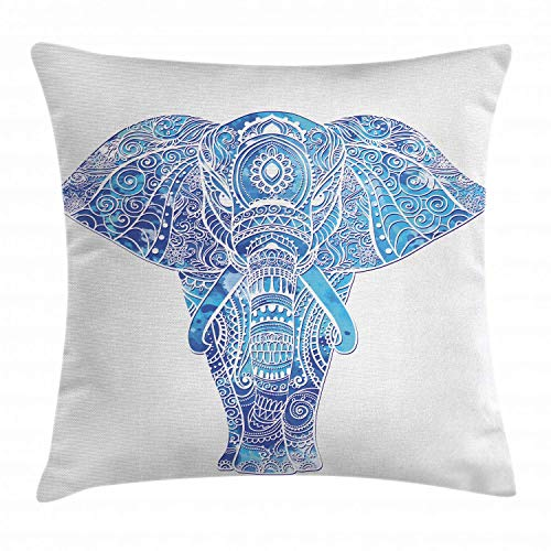 - RS-pthrAB Elephant Mandala Throw Pillow Cushion Cover by, Ocean Sea Inspired Colored Ethnic Sacred Animal Image, Decorative Square Accent Pillow Case, 24 X 24 Inches, Aqua Pale Blue and Turquoise