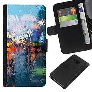 """A-type (Seco Luces de cristal"""") Colorida Impresión Funda Cuero Monedero Caja Bolsa Cubierta Caja Piel Card Slots Para HTC One M7"""