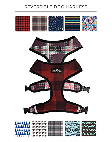 Lucy & Co. Reversible Dog (pet) Harness, Available in Multiple Patterns, Matching leashes Available. Small Dogs, Medium Dogs, Large Dogs (Holly Jolly Plaid, X-Large)