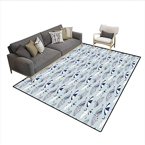 Carpet,Artistic Canopies with Floral Geometrical and Abstract Patterns,Non Slip Rug Pad,Navy Blue White Pale Grey 6'6