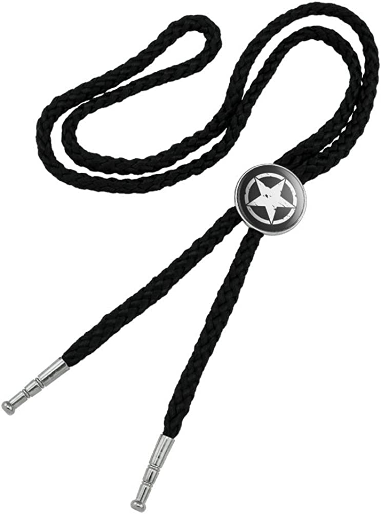 Oscar Mike On Mission Move Vintage Military Star Western Southwest Cowboy Necktie Bow Bolo Tie