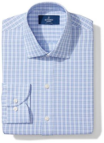 (BUTTONED DOWN Men's Slim Fit Spread Collar Pattern Non-Iron Dress Shirt, Mini Blue Glen Plaid, 14.5