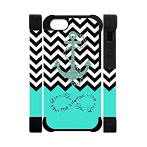 Zig Zag Black White Chevron Anchor And Cyan Infinity Pattern PersonalizedPersonalized Customization Best Cover For Iphone 5 and 5S