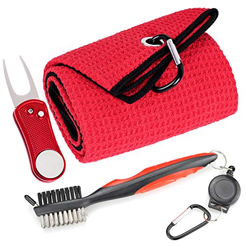 Mile High Life Microfiber Waffle Pattern Golf Towel | Club Groove Cleaner Brush | Foldable Divot Tool with Magnetic Ball Marker (Red Towel/Brush/Bone Divot)