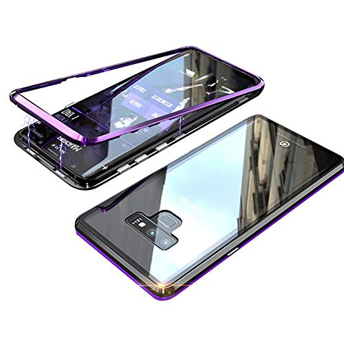 Galaxy Note 9 Case, HONTECH Ultra Slim Fit Magnetic Adsorption Aluminum Alloy with Built-in Magnet Flip Cover Tempered Glass Case Compatible Samsung Galaxy Note9, Purple