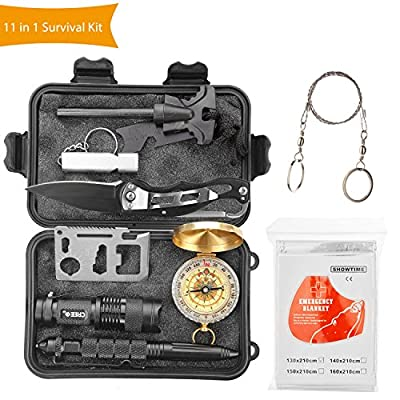 Halcent Tactical Survival Kit for Men Women, 11 In 1 Emergency Survival Tools with Fire Starter Emergency Blanket Compass etc Outdoor Emergency Survival Kit for Camping Hiking Travelling from Halcent