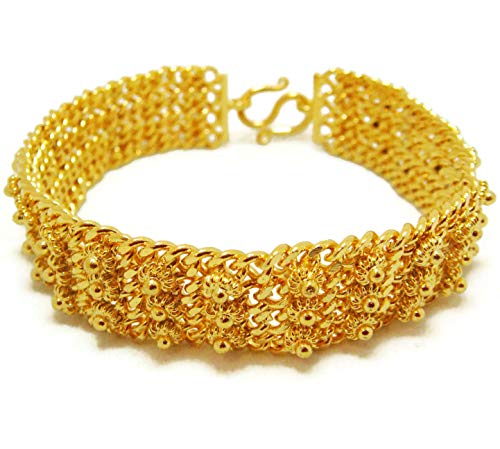 Pikun Flower Lai Thai Gold Plated Bangle 22k 24k Thai Baht Yellow Gold Filled Bracelet ()