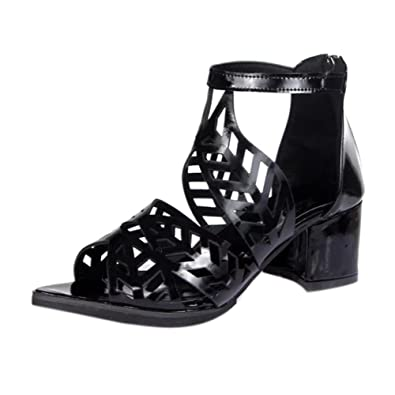 Elecenty Sandalen Damen,Trichterabsatz 6cm Hoch Absatz Sandalen Sommerschuh Frauen Bohemian Sommer Reißverschluss Mädchen Schuhe Schuh Damenschuhe Shoes Sandaletten (35, Weiß)