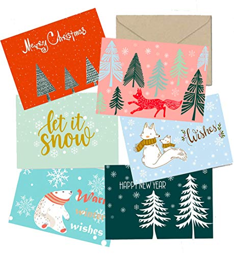 SUPHOUSE Christmas Happy Holiday Family Greeting Cards Boxed Set of 30, 6 Assorted Winter in Snow Festive Color Classy Design Blank On the Inside, Envelopes and Sealing Stickers Included -