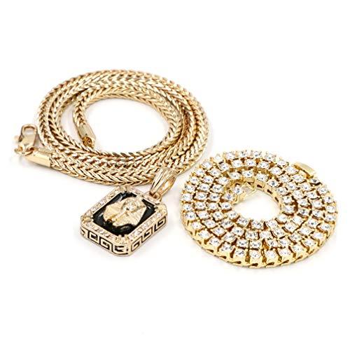 - Raonhazae Hip Hop Iced Out KING TUT Pendant W/ 4mm Franco Chain/Tennis Choker Chain (Gold 18