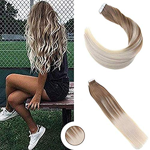 Ugeat Human Tape in Hair Extensions Ombre Balayage Color #6 Brown Fading to #60 Blonde 16inch Glue in Hair Extensions Human Hair 20PCS/50g Invisible Tape in Hair Extensions