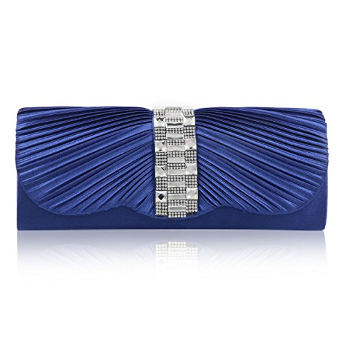 Mujer Damara satén Glamour con largo Clutch, color azul, talla medium azul - azul