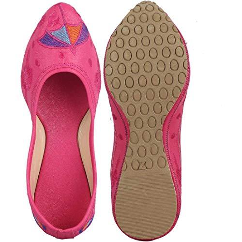Purely Chatri Rajwari Jutti Handmade Fabric Women's Ethnic Handcrafted Shoes Indian Pink Designer Traditional xAAvrE