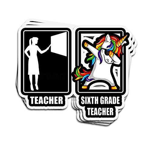 ViralTee 3 PCs Stickers Teacher Sixth Grade Teacher Unicorn 4 × 3 Inch Die-Cut Decals