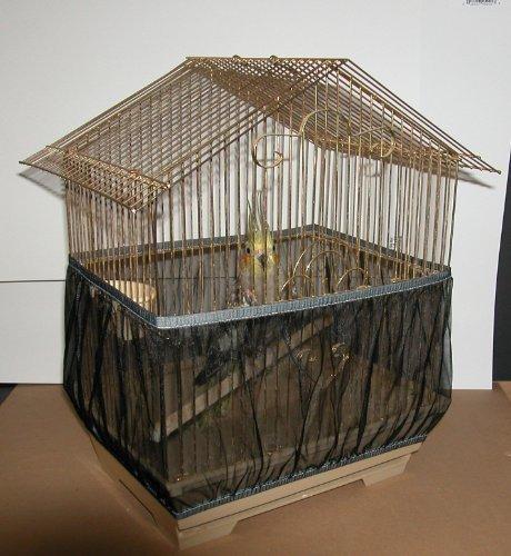 Richi Black Nylon Mesh Bird Seed Catcher Guard Net Cover Shell Skirt Traps Cage Basket S M L (M)