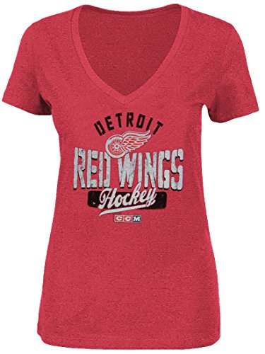 (Ladies Detroit Red Wings Arch Down Distressed Tri-Blend V-Neck T Shirt (XL=16-18))