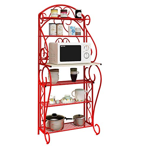 (HOME BI 5-Tier Kitchen Bakers Rack Microwave Stand Kitchen Cart with Red Finish Shelves Spice Rack Organizer Workstation)