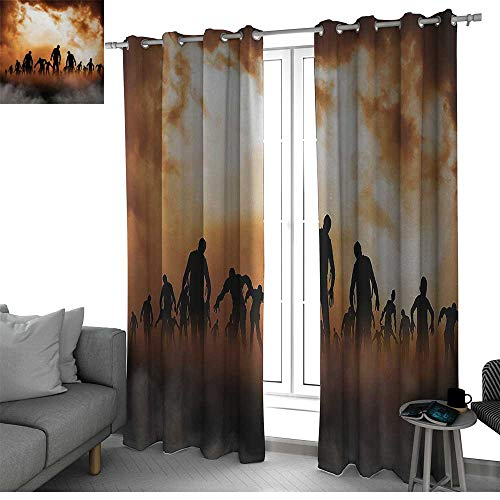 bybyhome Halloween Sliding Door Insulated Curtains Zombies Dead Men Walking Body in The Doom Mist at Night Sky Haunted Theme Print Small Window Curtain Orange Black W108 x L96 Inch ()