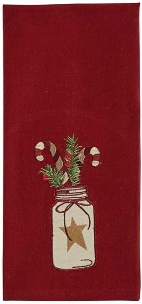 Park Designs Mason Jar Candy Cane Embroidered Dishtowel
