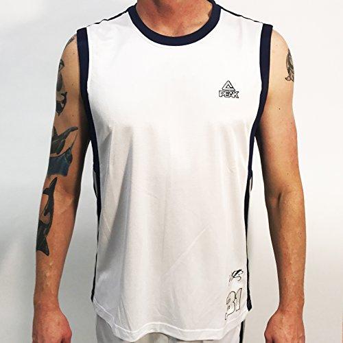 D Wade Jersey (Peak Men's Battier Match Basketball Jersey, White, XXX-Large)