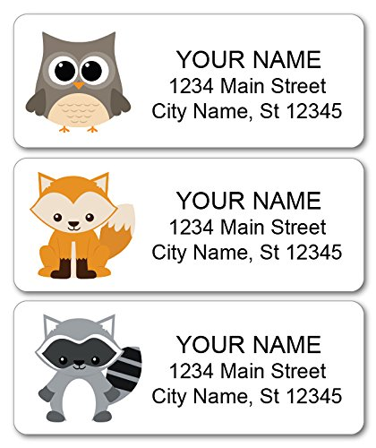 Personalized Return Address Labels - Woodland Animals, Fox, Owl, Raccoon -  120 Custom Gift Stickers