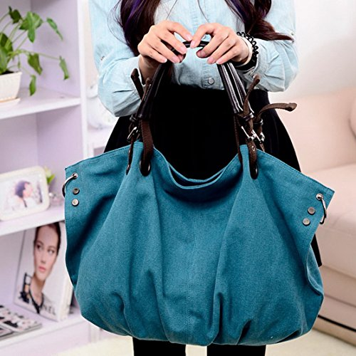 Panegy Damen Frauen Casual Tasche Mode Canvas Schultertasche Fashion Einfach Large Kapazität Handtasche Für Büro Freizeit Outdoor und Reisen - Blau Braun
