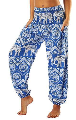 GLUDEAR Women's Rayon Elephant Print Boho Harem Yoga Pants Animal Totem