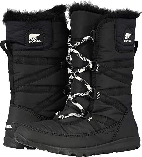 Sorel Women's Whitney Tall Lace Snow Boot, Black, sea Salt, 10.5 M US