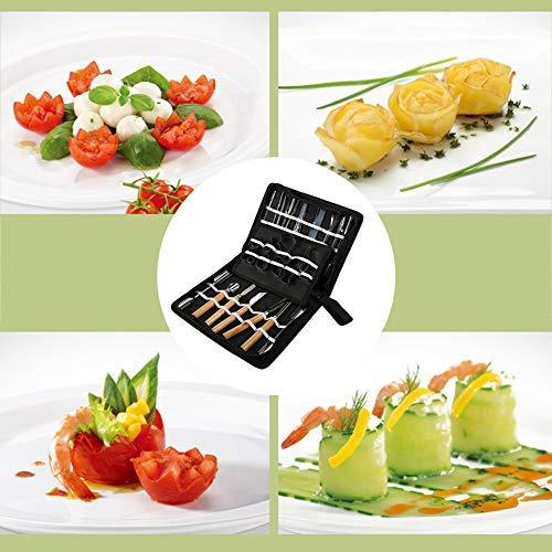 Cutting Kit Outils Sculpture Aliments Portable Outils de Sculpture Culinaire Set Portable Garnishing Tranchage Garniture Outils Kit pour l/égumes Fruit alimentaire 46Pcs
