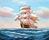 Beautiful Paint on Canvas no frame, no stretch ,A Sailing Ship with Sea Gulls on the Blue Ocean for Home Decor, is for Home Decoration, or Wall Art Decoration, Home Decor. There are fiber canvas, cotton canvas, or linen canvas. And it is also...
