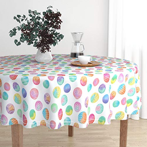 Round Tablecloth - Easter Basket Spring Pastel Boho Painted Eggs Easter Egg Spring Boho Easter by Noondaydesign - Cotton Sateen Tablecloth 70in