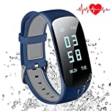 Abandship Fitness Tracker, Fitness Tracker Watch with Slim Touch Screen and Wristbands, Wearable Activity Tracker as Pedometer Sleep Monitor for Android and iOS (Blue)