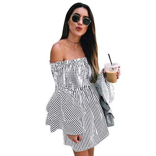 (Liraly Womens Summer Dresses Off Shoulder Stripe Party Ladies Casual Dress)