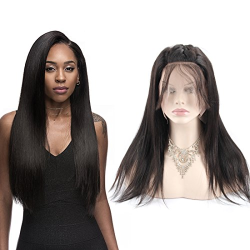 Elisheva 360 Lace Wigs Lace Frontal wig Brazilian Straight Hair Pre Plucked 150 Density Bleached Knots Natural Black Color with Baby Hair (16 Inch) by ELISHEVA