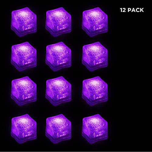 ((12 Pack) Light-Up LED Ice Cubes with Changing Lights and On/Off Switch)