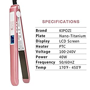 KIPOZI Pro Flat Iron with 1 Inch Titanium Ion plates Hair Straightener Adjustable Temperature Suitable for All Hair Types Makes Hair Shiny & Silky Heats Up Fast Dual Voltage Rose Pink