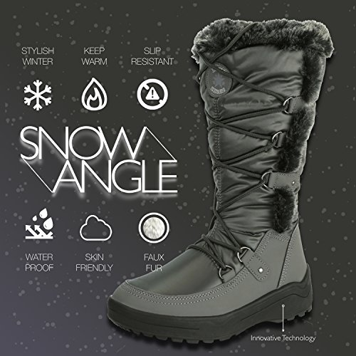 Warm Snow Women's Boots Woman's Knee DailyShoes Water Eskimo up Gray Fur High Resistant vaqXwRxOw
